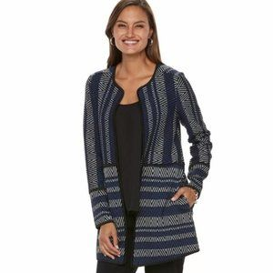 Dana Buchman Blue White Black Chevron Cardigan L